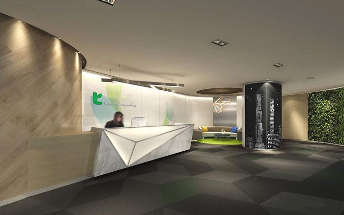金融咨詢服務公司辦公室前臺裝修設計案例效果圖