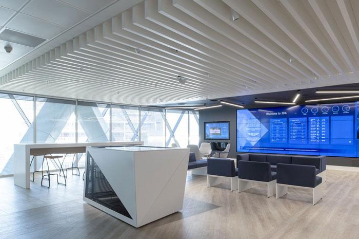 370平方办公室前台接待装修设计效果图