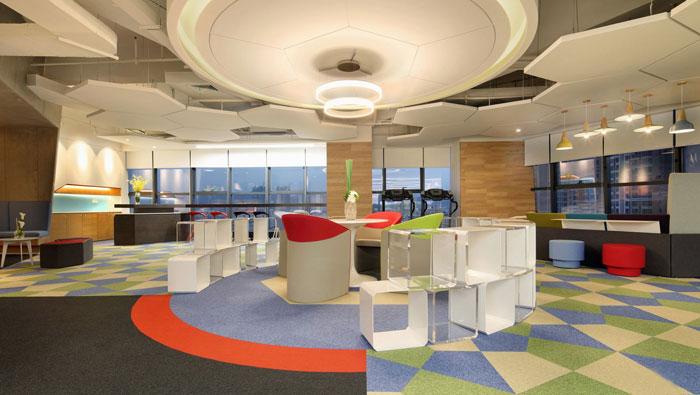 金融控股集团办公室接待区装修设计效果图