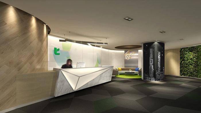 集团办公空间前台装修设计效果图