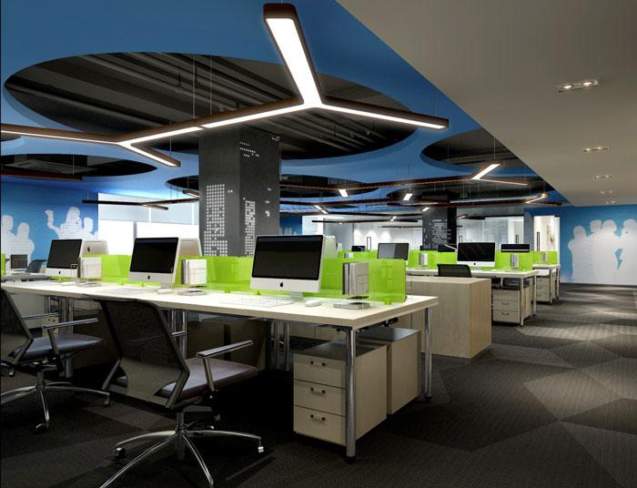集团办公空间办公区装修设计效果图