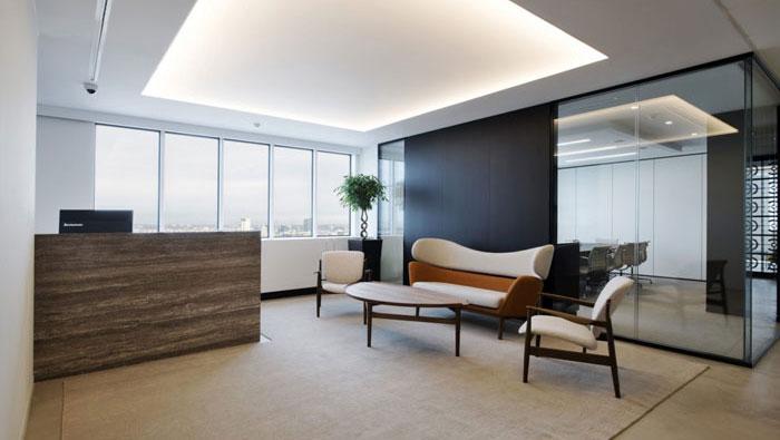 P2P金融公司办公室接待区装修设计效果图
