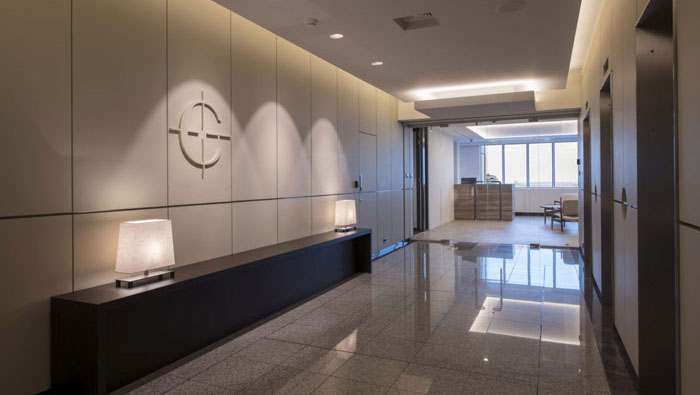 P2P金融公司办公室前台装修设计效果图