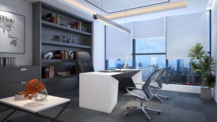 能源集团公司总经理办公室装修设计效果图