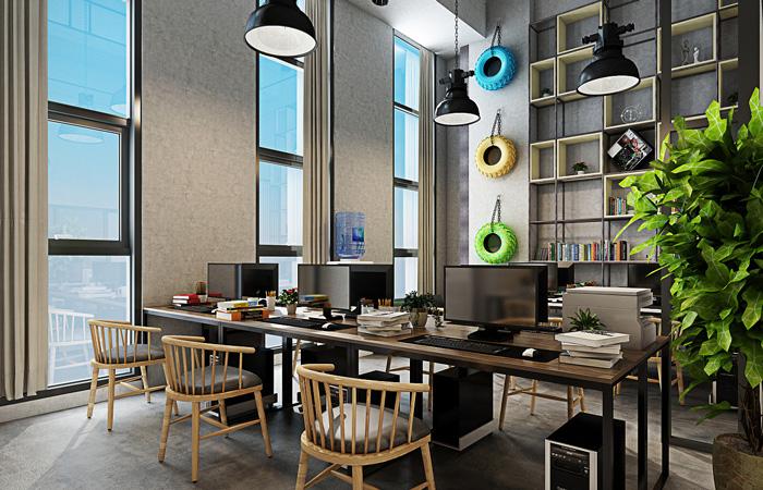 工业办公室装修设计效果图讲解到此结束,设计师在办公室设计中,以loft