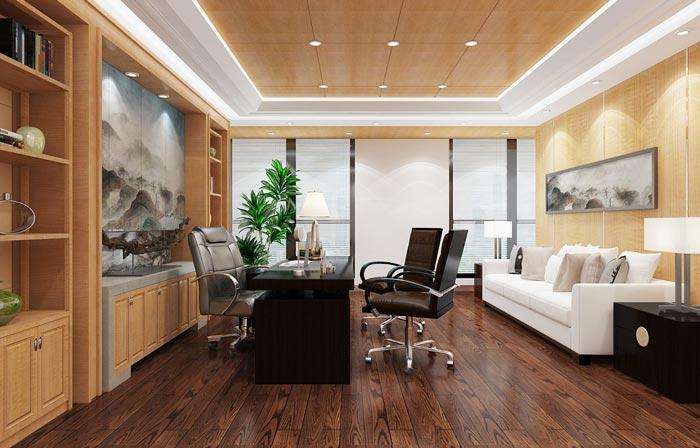 金融租赁公司总经理办公室装潢装饰设计效果图