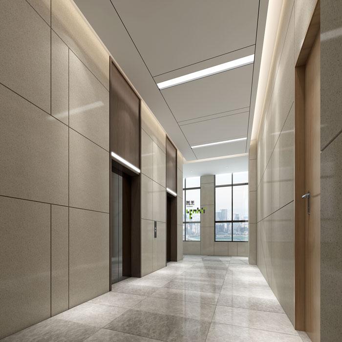 杭州环保公司办公室电梯间装修设计效果图