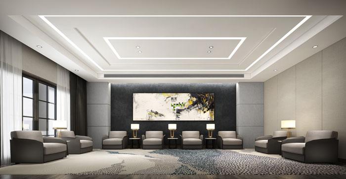 杭州环保公司办公室接待室装修设计效果图
