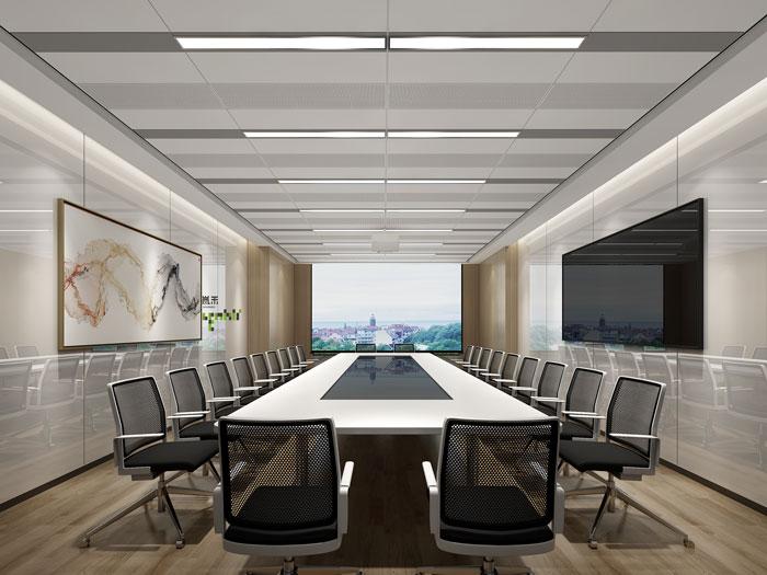 杭州环保公司办公室会议室装修设计效果图