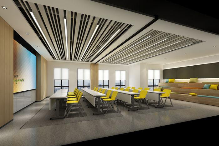 杭州环保公司办公室培训室装修设计效果图