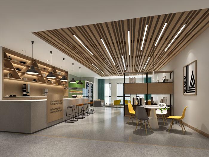 杭州环保公司办公室休息区装修设计效果图
