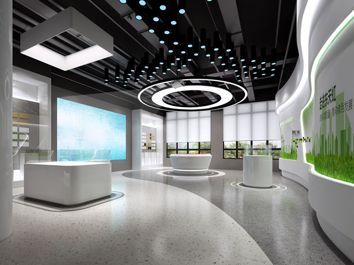 杭州环保公司办公室展厅装修设计效果图