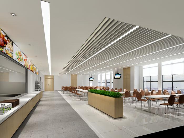 杭州环保公司办公室餐厅装修设计效果图