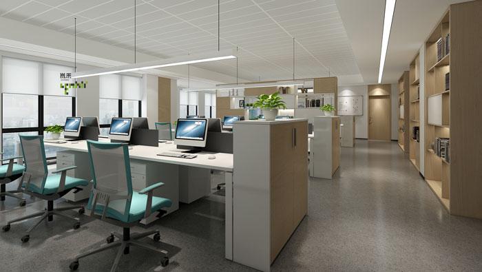 杭州环保公司办公室办公区装修设计效果图