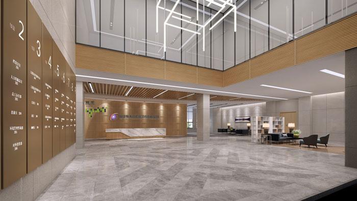 杭州环保公司办公室前台装修设计效果图