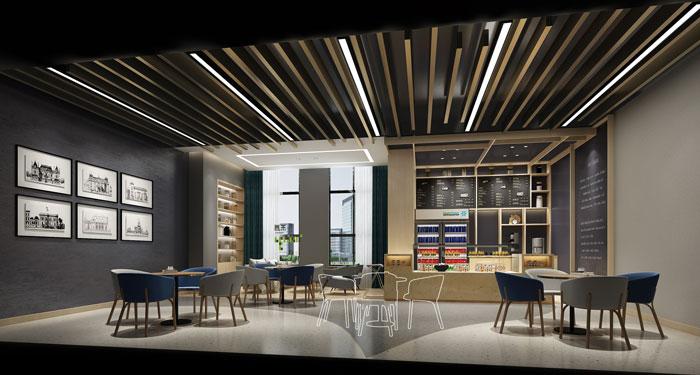 杭州环保公司办公室咖啡厅装修设计效果图