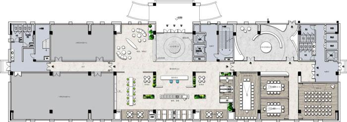 杭州环保公司办公楼1F平面图