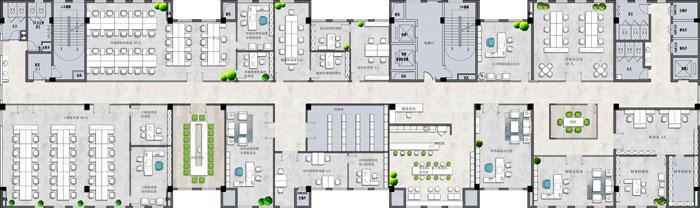 杭州环保公司办公楼8F平面图