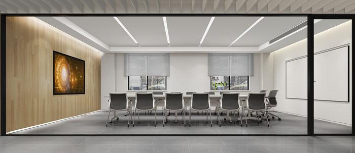 杭州智能厂房办公楼会议室装修设计效果图