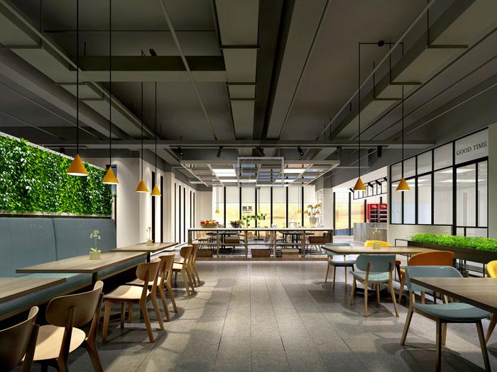 杭州智能厂房办公楼餐厅装修设计效果图