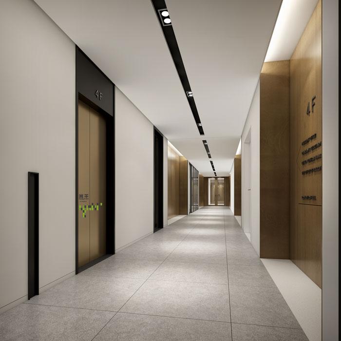 杭州智能厂房办公楼过道装修设计效果图