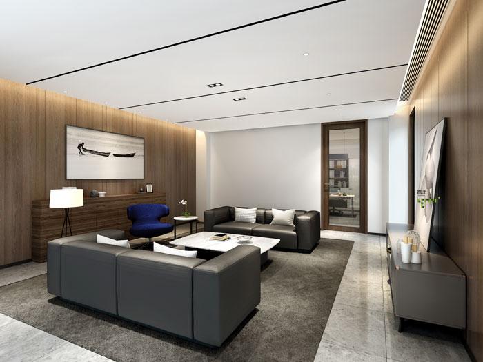 杭州智能厂房办公楼接待室装修设计效果图