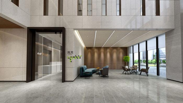 杭州智能厂房办公楼接待区装修设计效果图