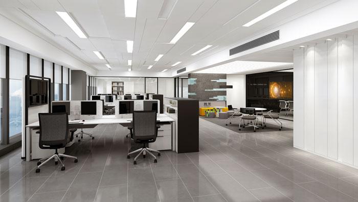 杭州智能厂房办公楼办公区装修设计效果图