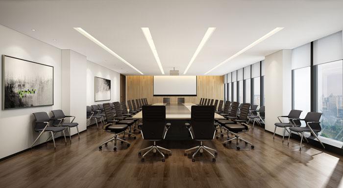 杭州智能厂房办公楼大会议室装修设计效果图