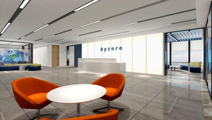 网络公司办公楼前台装修设计效果图