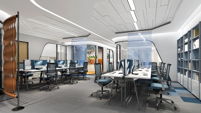 医疗公司办公室办公区装修设计效果图