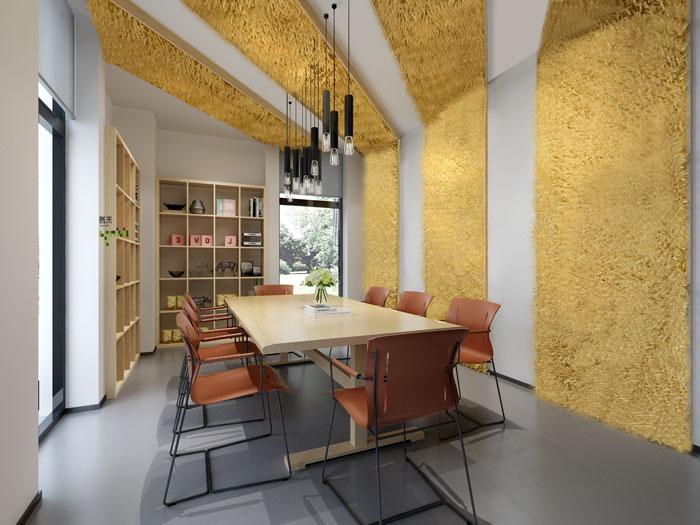 杭州食品公司办公室小会议室装修设计效果图