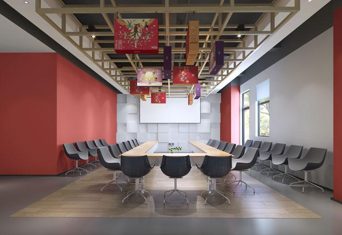 杭州食品公司办公室大会议室装修设计效果图