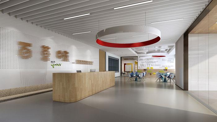 杭州食品公司办公室前台装修设计效果图