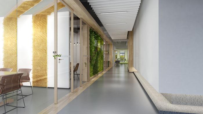 杭州食品公司办公室过道装修设计效果图