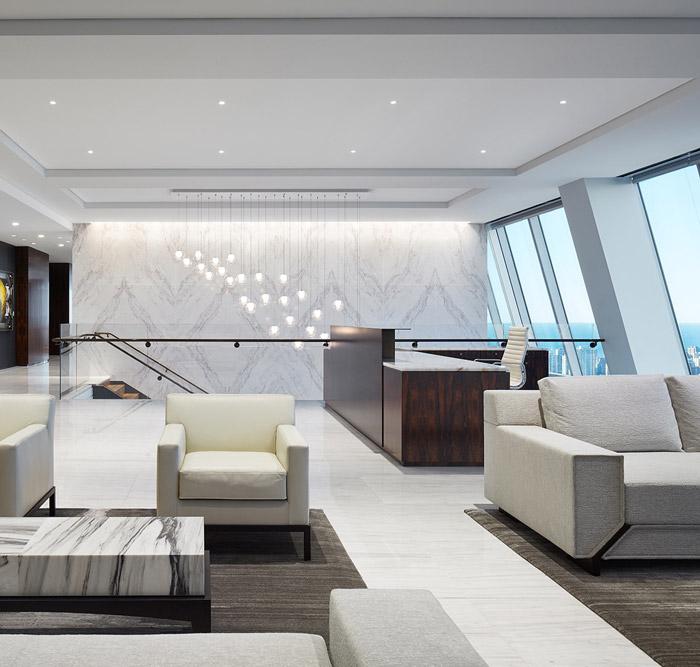 投资公司办公室前台装修设计效果图