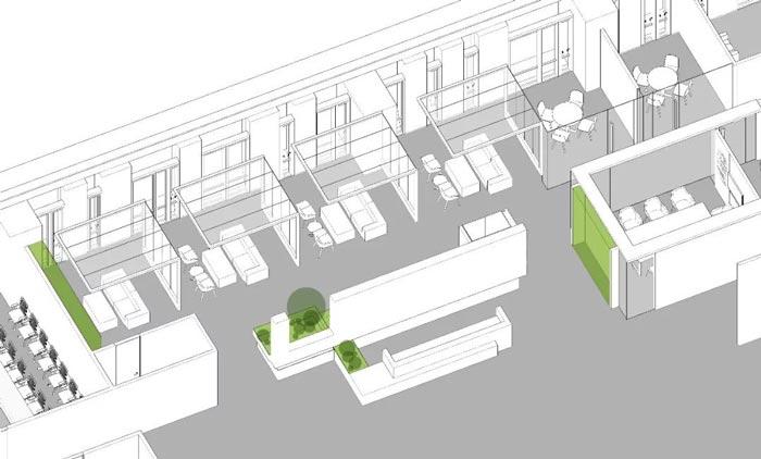 10000平方集團辦公室設計軸測圖