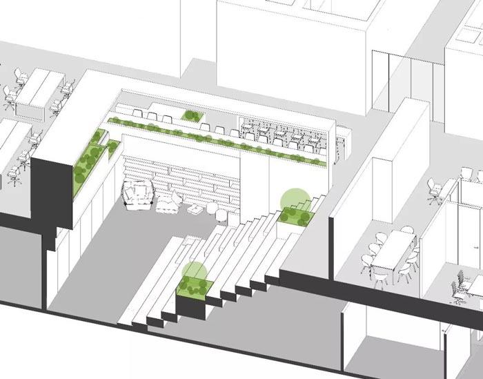 10000平方集團辦公室設計剖切圖