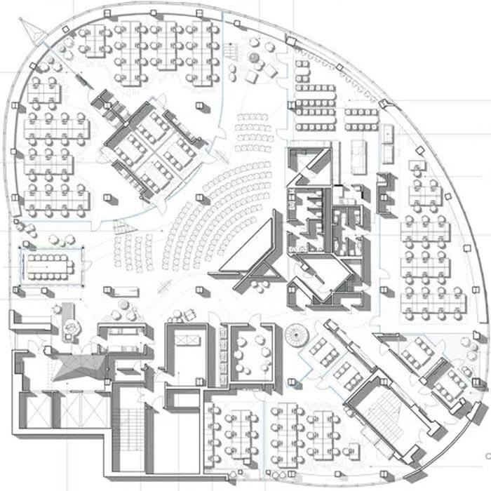 二(2)层办公室一层平面图