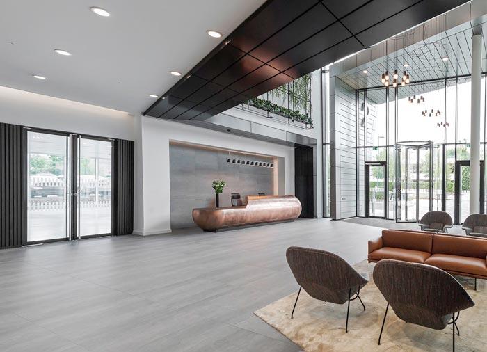 夹层楼办公室入口装修设计效果图
